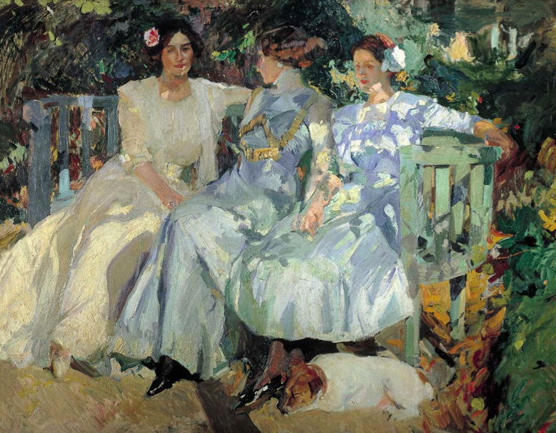 Joaquín Sorolla y Bastida (1863-1923) My Wife and Daughters in the Garden 1910, Oil on canvas, 65 3/8 x 81 1/4 in. Colección Masaveu, Oviedo, Spain