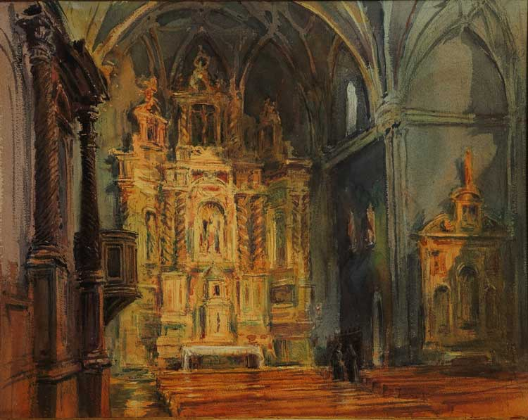 Timothy J. Clark (b. 1951) Baroque Altar, Aragon 2014, Watercolor and shell gold on paper, 20 1/4 x 25 5/8 in. Harmon-Meek Gallery, Naples, Florida